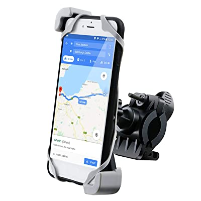 """IPOW Bike Phone Mount Holder with Retractable Clamp Bicycle Motorcycle Phone Mount Holder Strong Silicone Rubber Band Universal Phone Holder for Bike Fit 0.6""""-1.2"""" Handlebars and 3.5""""-6"""" Smart Phones: Automotive"""