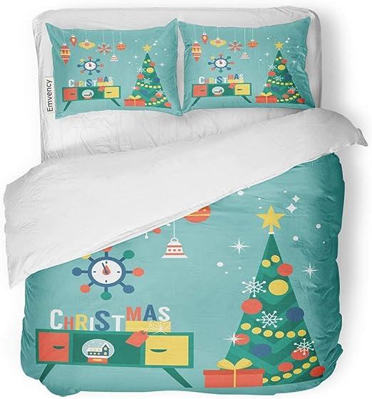 Christmas Holly Design Print Duvet Cover Pillowcase Set Designer Bedroom Bedding