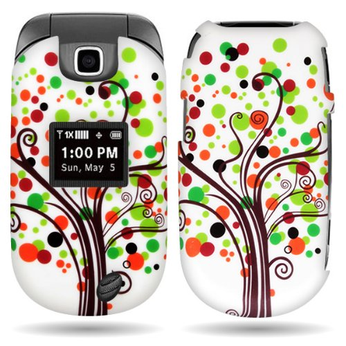 Faceplate Removal - CoverON WHITE Hard Cover Case with BROWN GREEN CONTEMPO TREE DESIGN for LG VN150 REVERE 2 With PRY- Triangle Case Removal Tool