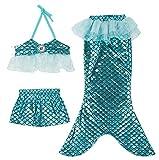 Girl 3Pcs Mermaid Tail Swimmable Bikini Set Bathing 2018 Summer Swimwear Cosplay 3-10Y