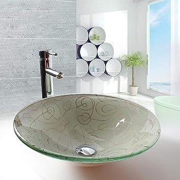 Amazon.com: Cuenco de lavabo de cristal templado, línea ...