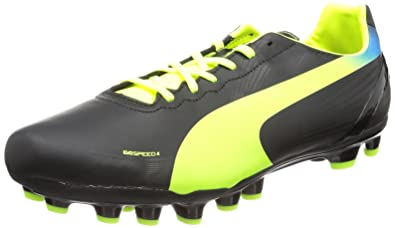 Puma evoSPEED 4.2 AG Football Shoes Men s Black Schwarz (black-fluo  yellow-brilliant de8d9b093