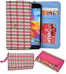 NuVur &153; PINK Multicolored Wallet Case/Woven Pattern/for Lenovo S560/CardSlots&Wristlet