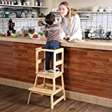 SDADI Kids Kitchen Step Stool with Safety Rail CPSC Certified - for Toddlers 12 Months and Older, Burlywood