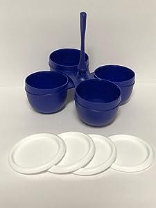 Tupperware Essentials Condiment Server and (4) 1 cup bowls w/seals