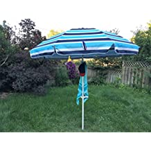 KoolQuest Beach Umbrella Set 8ft with built in Sand Anchor , Heavy Duty Telescopic Pole , Push Tilt , Silver Coated UPF 50+ Polyester Fabric , Air Vent & Carry Bag (Stripes Pattern B)