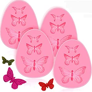 4 Pack Fondant Molds, Mini Butterfly Mold Butterfly Molds Silicone Butterfly Chocolate Mold Pink Polymer Clay Molds Small Clay Molds, Non-stick DIY Tool for Cake Decorating- Butterflies