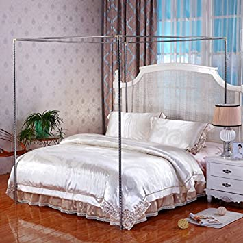 Stainless Steel Canopy Mosquito Netting Canopies Frame/Post Twin Full Queen King Size (FULL : canopy mosquito net bed - memphite.com