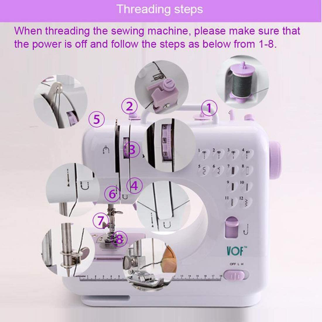 Mini máquina de coser, Portátil ajustable 2 velocidad Máquina de ...