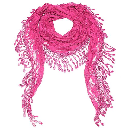 Falari Vintage Women Lace Scarf With Fringes Polyester (YH26-03-Hot (Hot Pink Scarf)