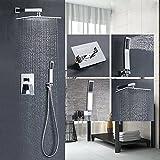 Votamuta Bathroom Single Handle Shower Faucet Trim Valve Body Hand Shower Complete Kit Modern Square, Polished Chrome