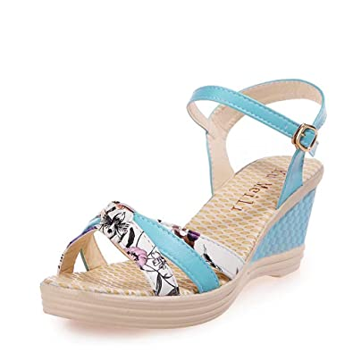 30f15e51b QUINTRA Ladies Women Wedges Shoes Summer Sandals Platform Toe High-Heeled  Shoes Blue White Pink