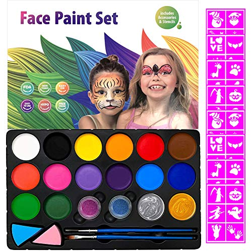 Face Painting Kits for Kids,48 Stencils,16 Colors Water Based Face Paints,2 Glitters-Halloween Easter Makeup Kit, Professional Party Cosplay Body Paint Set Safe for Sensitive Skin