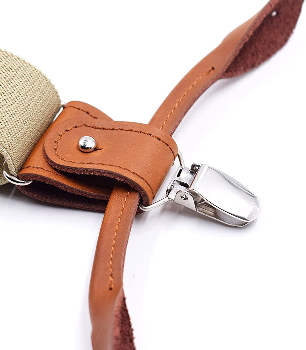 Mens Braces Button End Heavy Duty Adjustable Elastic Straps Khaki KNMY Y-Back Strong Clips /& Leather Button Suspenders