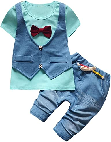 DIGOOD For 0-4 Years Old Toddler Baby Boys Letter Short Sleeve T-Shirt Tops+Denim Pants,2Pcs Outfits Clothes Sets