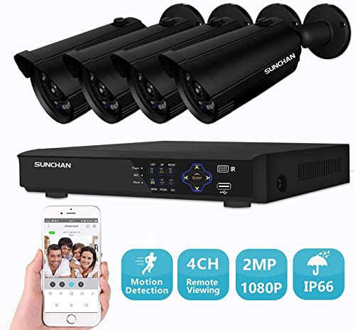 SUNCHAN Indoor Outdoor 2MP 1920 1080p Security System,4pcs Weatherproof -4 F 122 F Aluminum Surveillance Cameras, Motion Detection, Night Vision 60ft.4 Channel 2MP DVR NO HDD