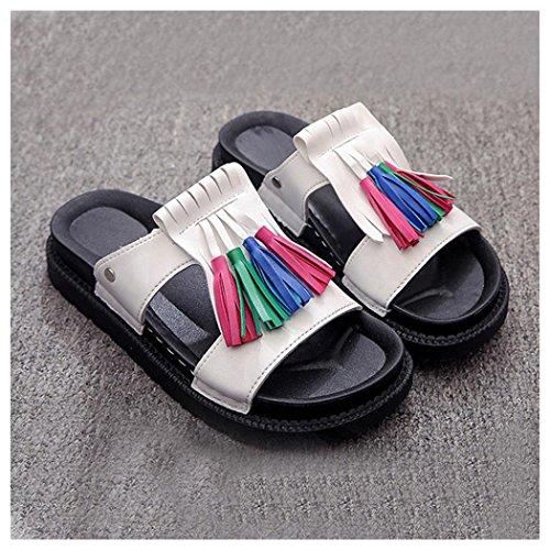 Sommer Sandaler, Kvinner Inkach Sommer Sandaler Roman Natural Sandaler Damene Flip Flops Sko Hvit