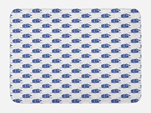 Ship Bath Mat by Lunarable, Blue Brigantine Silhouettes Sailing on Ocean Waves Nautical Design Background, Plush Bathroom Decor Mat with Non Slip Backing, 29.5 W X 17.5 W Inches, Cobalt Blue White (Items Sailing Decorative)