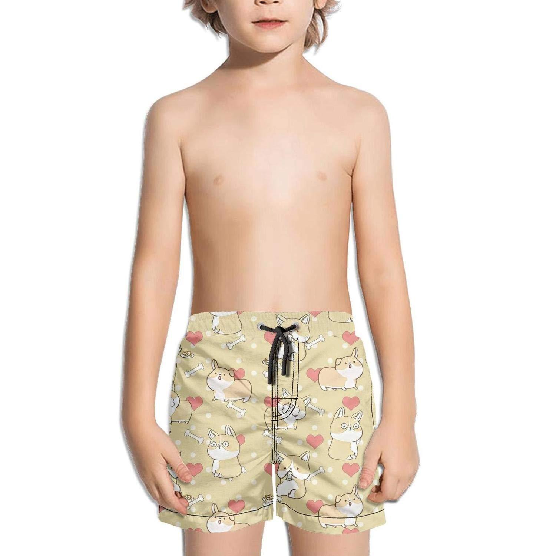 Etstk Dog Puppy Corgi Kids Quick Dry Swim Trunks for Boys