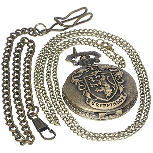 Godric Gryffindor Hogwarts House Harry Potter Fanatics Tungsten Steampunk Necklace Antique Men Women Pocket Watches Chain Vintage Quartz Clock Fob Watch 1 PC Necklace 1 PC Clip Key Rib Chain ()