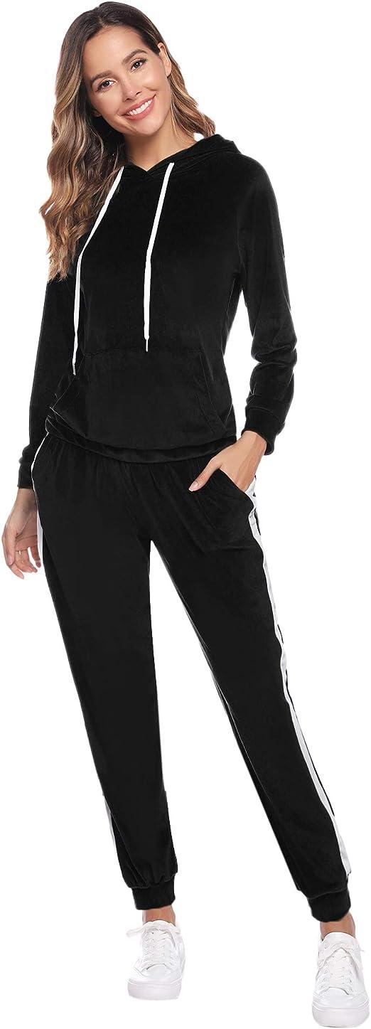 Asvivid donna tuta sportiva tuta 2 pezzi set sportiva top con cerniera con cappuccio giacca sportiva pantaloni sportivi tuta da jogging abbigliamento sportivo