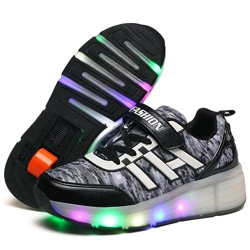 b97b9f782a042 Amazon.com | Seunota Child Sneakers Shoe Roller Skate Shoes LED ...