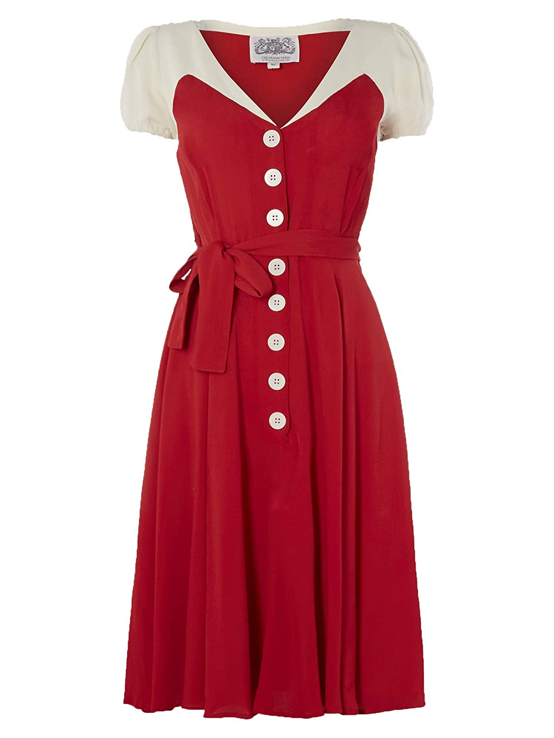 2ece13b050c67 The Seamstress of Bloomsbury Rosalyn Dress in Red with Contrast Ivory  1940's Authentic Vintage Style Clothing: Amazon.co.uk: Clothing