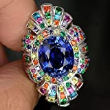 by lucky 2.75Ct Multicolor Topaz Women 925 Silver Cocktail Ring Wedding Vintage Size6-10 (8)