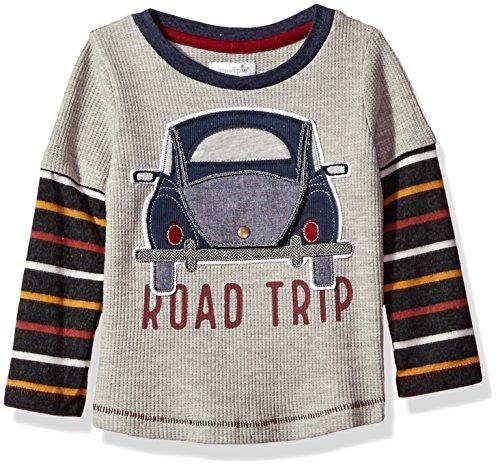 Mud Pie Baby Toddler Boys' Road Trip Long Sleeve Layered Raglan T-Shirt, Gray, MED/2T-3T