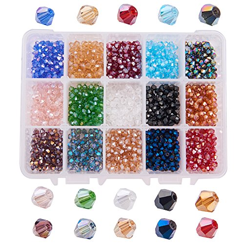 PandaHall Elite About 1800 Pcs 4mm Faceted Bicone Rondelle Glass Beads Briolette Crystal Czech Spacer Beads 15 AB Colors for Jewelry ()