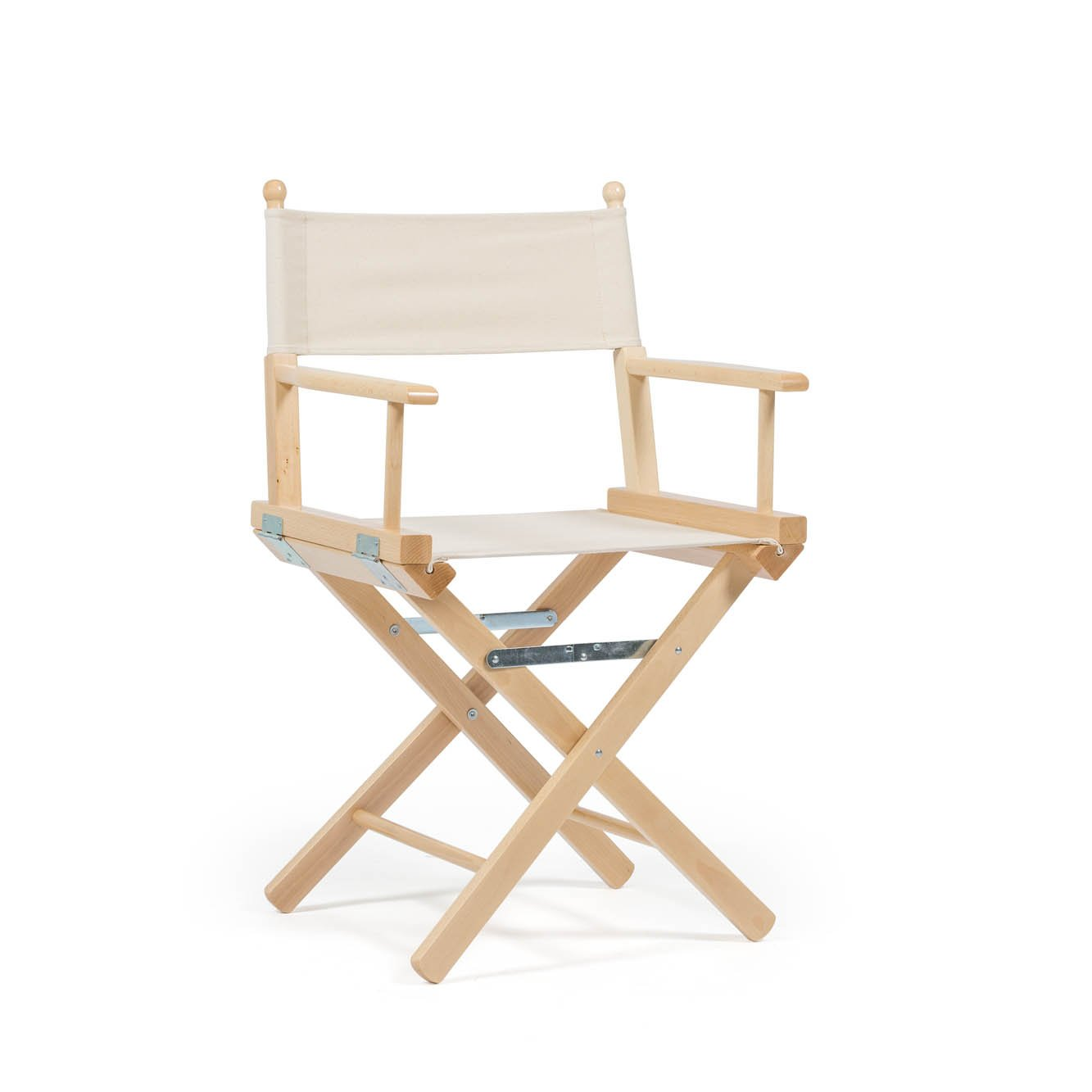 Telami Outlet Folding Beech Wooden Directors Chair Made in Italy - Original Ecru Colour on Natural Cotton Fabric for Outdoor Furniture - 52x46x91,5 cm