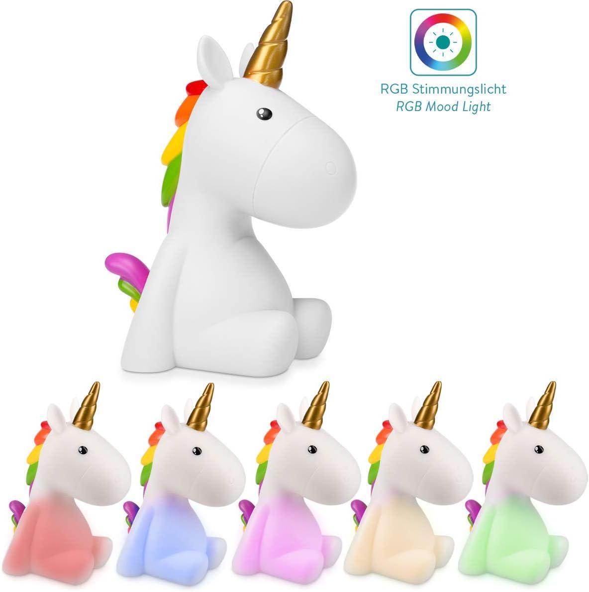 Navaris luz de noche para niños - Lámpara LED de unicornio y cable micro USB - Iluminación RGB brillo ajustable y temporizador de color blanco