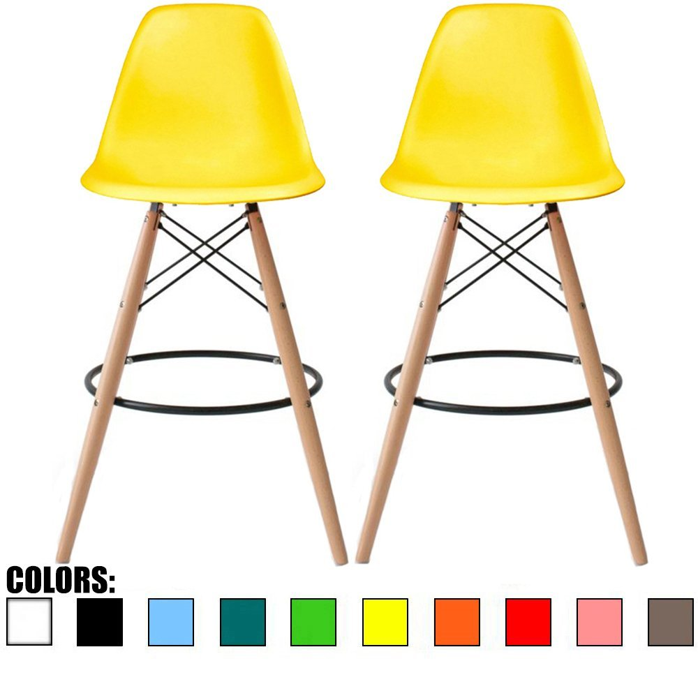 2xhome - Set of Two (2) - Yellow - 28'' Seat Height Eames Chair Style DSW Molded Plastic Bar Stool Modern Barstool Counter Stools with backs and armless Natural Legs Wood Eiffel Legs Dowel-Leg