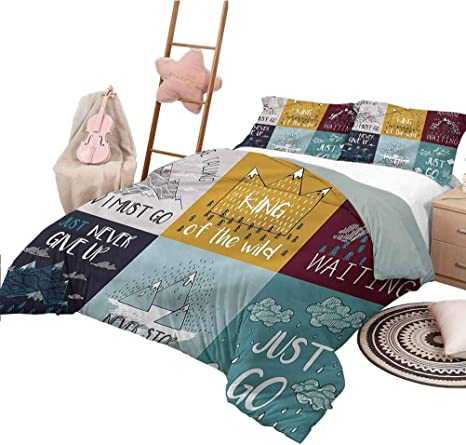 Nomorer Bed Sheets Queen Size Quote Printed Quilt Cover Motivational Phrase Adventure Home Kitchen