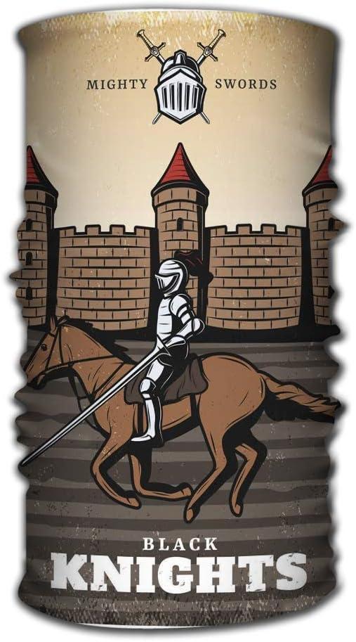 Quintion Robeson Pañuelo Transpirable Colorido Cartel Medieval Vintage Caballero Acorazado Lanza Caballo Montar Castillo Fortaleza Fantasía