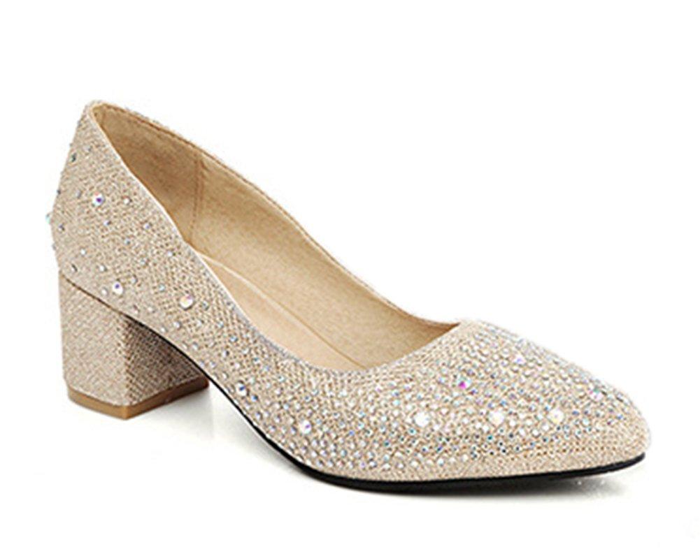 Aisun Damen Fashionable Strass Low Cut Blockabsatz Pumps Gold 41 EU xYWk4