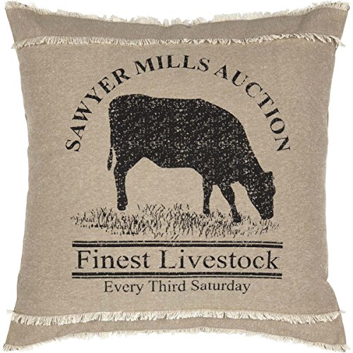 VHC Brands Farmhouse Pillows & Throws - Sawyer Mill Tan Cow 18