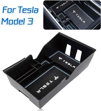 Car Center Console Organizer Tray Storage Box Coin for Tesla Model 3 Storage Armrest Box Phone Mount Pocket Sunglass Holder Container Black