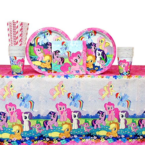 Cedar Crate Market My Little Pony Party Pack for 16 Guests: Straws, Plates, Napkins, Cups, and Table Cover (Bundle for 16)