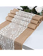 Glaucus Burlap Table Runner with Lace 72inch or 108inch