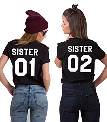 80ba8096 Best Friends T-Shirts Matching BFF Shirts for Girls 01 02 2 Pieces White  Black