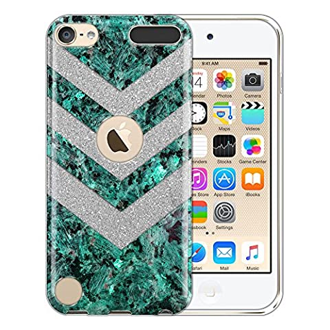 Apple iPod Touch 6 Hybrid Case, FINCIBO Shiny Sparkling Silver Bling Glitter TPU Hybrid Silicone Protector Cover for Apple iPod Touch 5 iPod Touch 6 (6theration), Clear Arrowhead Green Pearl - Case Faceplate Cover Ipod