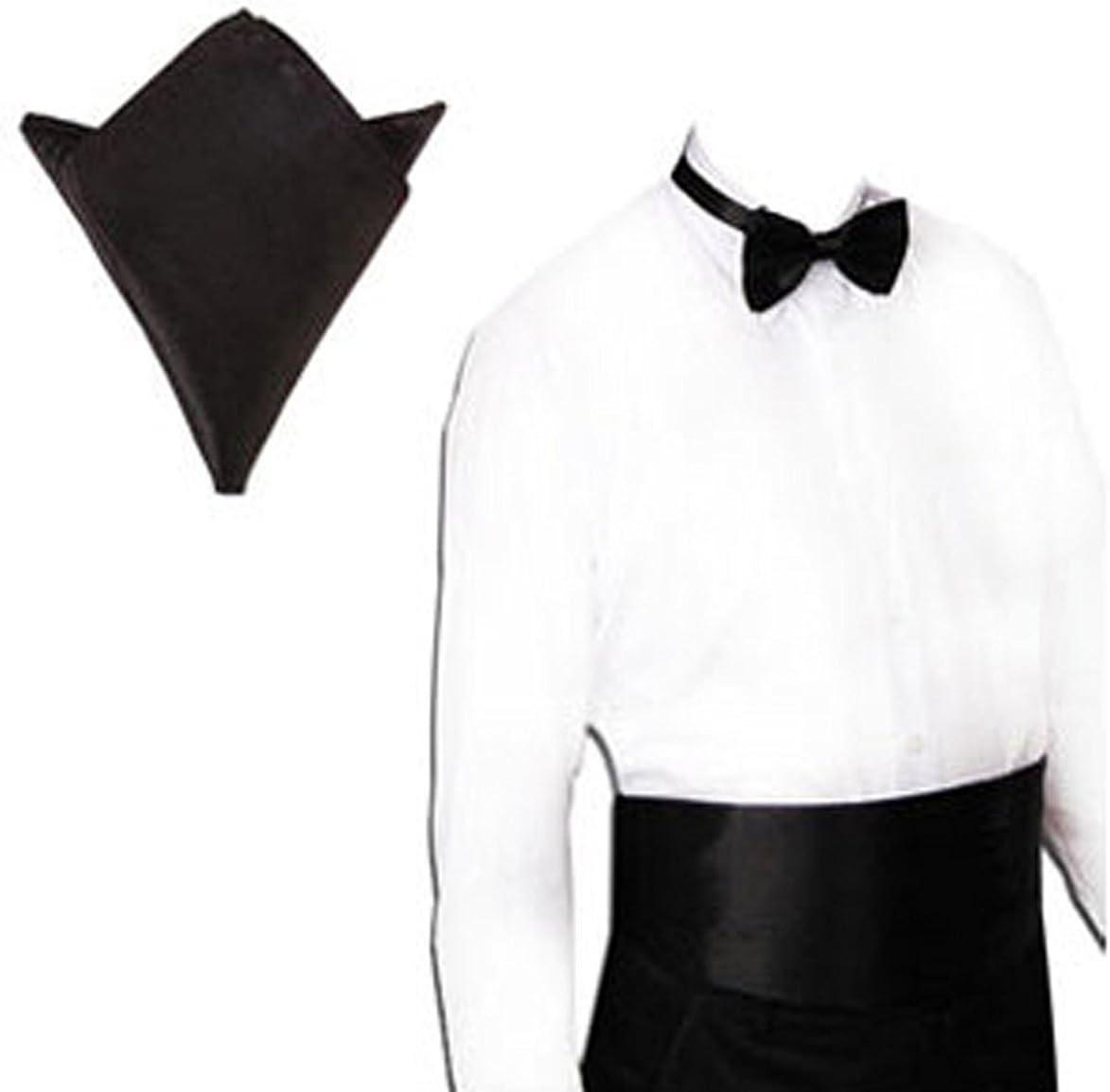 Bow Tie and Hanky Handkerchief 3-Piece Set Black Rosenice Mens Satin Cummerbund