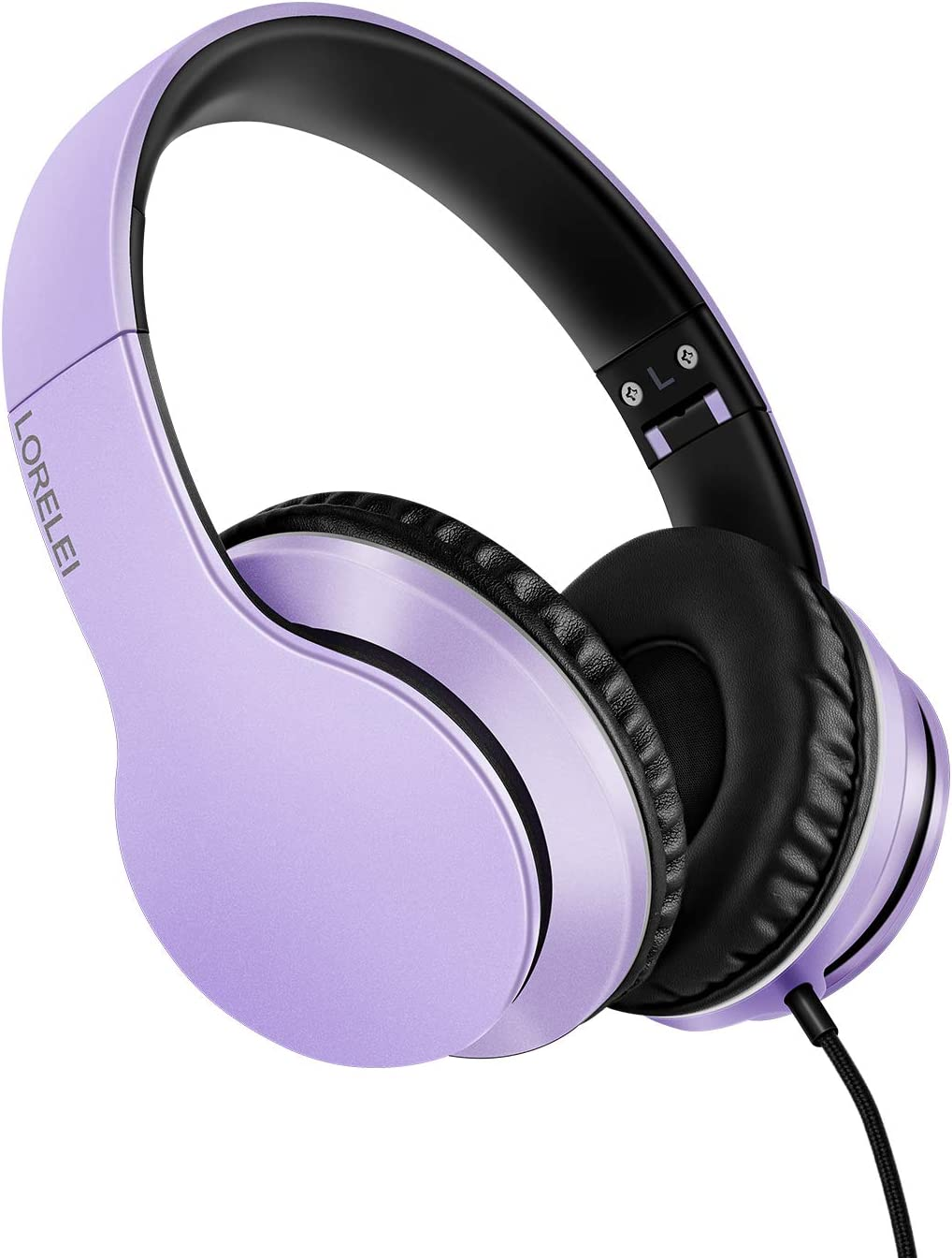 LORELEI X6 Over-Ear Headphones with Microphone, Lightweight Foldable & Portable Stereo Bass Headphones with 1.45M No-Tangle,Wired Headphones for Smartphone Tablet MP3 / 4 (Purple-Black)