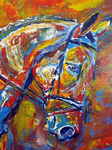 Colorful Abstract Horse Wall Art Print, Horse Owner Gifts, Horse Palette Knife Painting Wall Art Print, Equestrian Artwork, Horse Gift for her, Horse Rider Gift, Hand Signed by Oscar Jetson