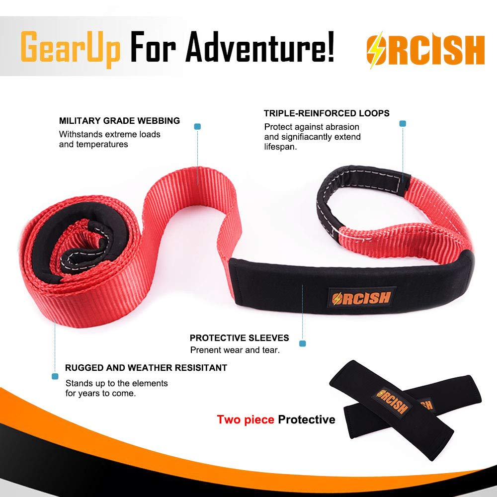 ORCISH 2/×66 Vehicle Tow Recovery Strap with 11000lb Capacity
