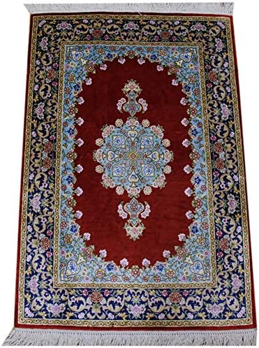 Yilong Persian Area Rug Oriental Silk Hand Knotted Red Blue Floral Design Carpet, 2 x 3
