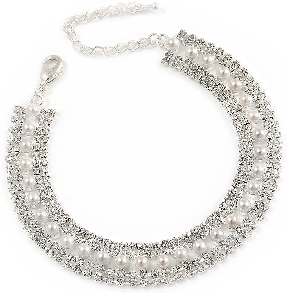 Pulsera chapada en rodio con perlas cristal blancas australianas, 18cm L/5cm Ext para novia/boda/baile de graduación/fiesta