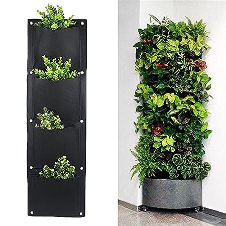 Yunhigh supporto a parete con 4 tasche per fiori o piante ...