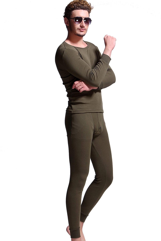 Godsen Mens Cotton Thermal Underwear Long Johns Sets Base Layer (XL, Army Green)